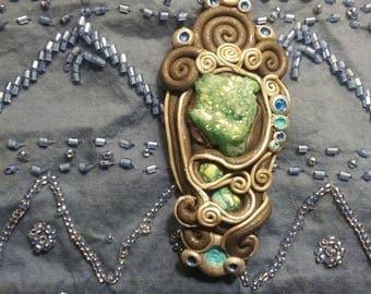 aqua blue aura quartz healing pendant