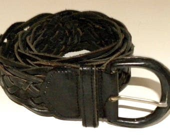 Vintage Woven Black Leather Belt / adjustable Festival / Gypsy / Bohemian / boho / Baja / India
