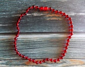 """13"""" Red Amber Healing Necklace Knotted on Silk, Teething Necklace, Natural Pain Relief"""