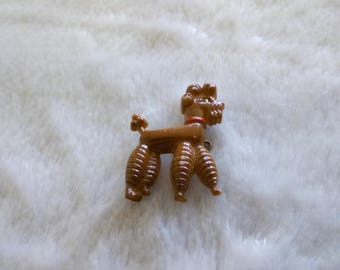 Celluloid brown poodle brooch   - vintage plastic dog brooch pin 1950s