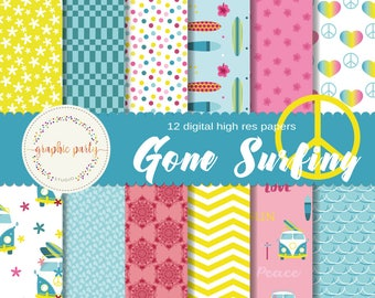 Gone Surfing Digital Paper Pack for Scrapbooking