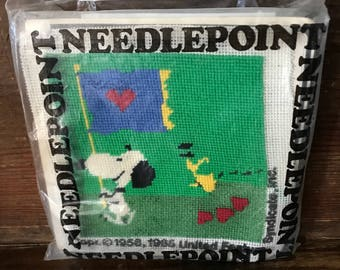 Vintage needlepoint kit featuring Snoopy and Woodstock