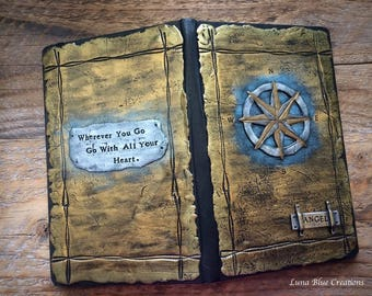 Personalized Travel Journal, Compass Journal, Polymer Clay Journal, Custom Journal, Personalized Travel Sketchbook, Custom Sketchbook, Diary
