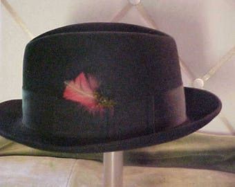 Vintage Black  Felt Dobbs Hat With Feather at side, Size 6 7/8.  #2276