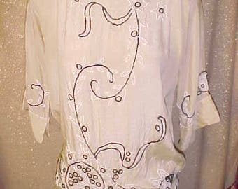 Vintage 1920s Creme  silk Top with Black  and White  beaded work Stunning. Med    3089