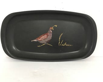 Vintage Couroc Black Lacquer Tray - Pink Puple Bird