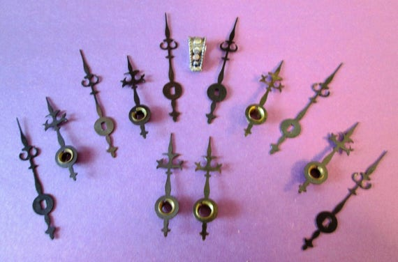 6 Pairs of Vintage Small Trident/ Gothic Style Grey Steel Clock Hands for your Clock Projects, Steampunk Art, Jewelry Making and etc...