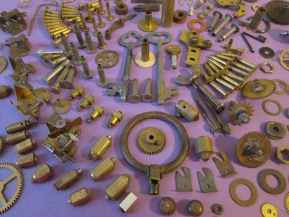 Steampunkers Dream Lot # 4 Antique & Vintage Clock Parts + Hardware For Your Clock Projects, Steampunk Art, Metalworking and Jewelry Making