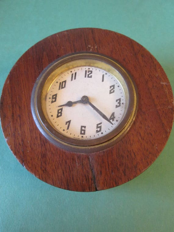 "Cute Little Vintage 4"" Cherry Wood Clock (Not Working) for your Clock Projects - Steampunk Art -"