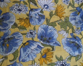 Vintage Fabric 1970s Yellow background Blue, White and Yellow Flowers Cotton Poppies Daisies Unused. 1.6 metres  Bright Floral Fabric