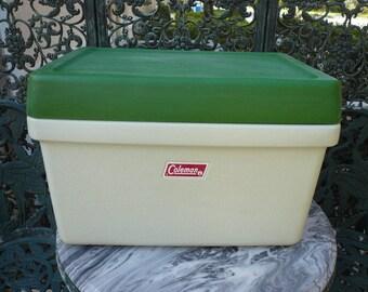 Vintage 1972 Coleman Cooler 2 Tone Green Chrome Bottle Opener Handles - NICE!
