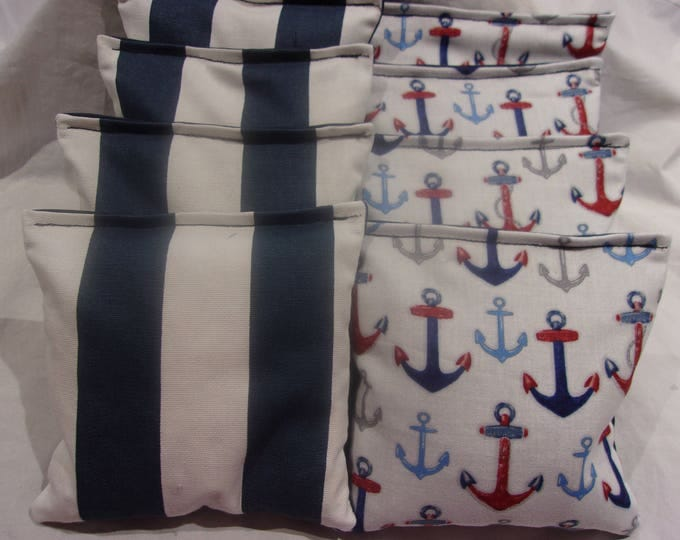 8 ACA Regulation Cornhole Bags - Ocean Anchors and Nautical Stripes in White and Blue