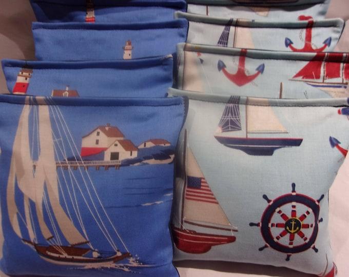 8 ACA Regulation Cornhole Bags - Ocean Sailboats Anchors Lighthouses Ship's Wheel