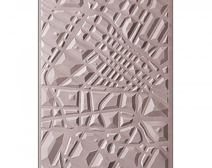 New! Sizzix 3-D Textured Impressions Embossing Folder - Map by Lynda Kanase 662456
