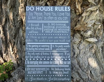 House Rules Sign, Family Rules Sign, In this house Wood Sign, PERSONALIZED We Do Family Wall Decor, Christian Family Rules Home Decor Art
