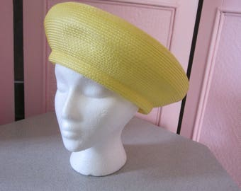 1960s Yellow Straw Bubble Beret