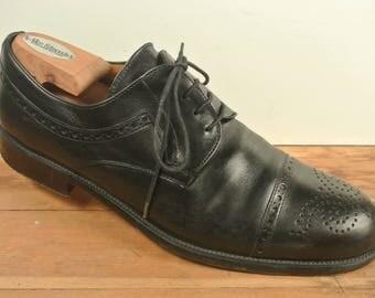 Mezlan Black Brogued Cap Toe Lace-Up Blucher Men's Size: 9.5D