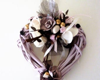heart pink old Wicker, pink pearls, mini macaron: precious heart
