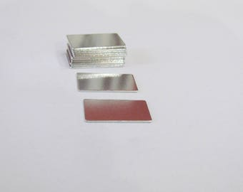1/2 x 1 Aluminum Blanks - 20 gauge -Premium = Tumbled  blanks - Easy to Stamp -small id blanks - Rectangle blanks - jewelry supplies