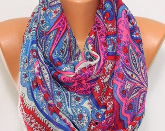 Neon Pink Blue Red Paisley Scarf Oversize Scarf Shawl Winter Fashion Women's Fashion Winter Accessories Holiday Gift Ideas For Her