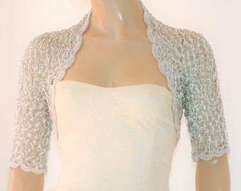 Grey silver crochet shrug/ Wedding bolero shrug//Bolero jacket/Lace shrug/Bridal shoulders cover/Bridesmaids Cover up Bolero