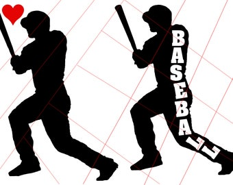 Baseball Player with Bat and Heart Vinyl Decal - SVG Digital Download