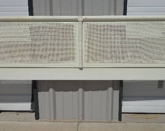 Headboard Cane Dixie Wicker King Bed Bedroom Furniture White Campaign  Shabby Chic Glam Hollywood Regency Vintage