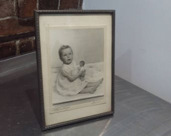 Large Freestanding Vintage Photo Frame Photo of Baby and Doll Hastings