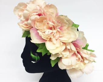 Dead Stock Sale! Peony Flower Crown with Leaves