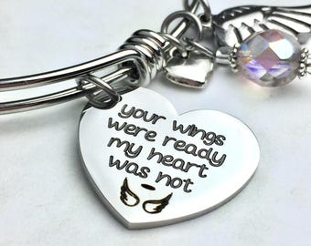 Your Wings Were Ready Memorial Expandable Bangle Bracelet, memory, grieving, mourning, loss of loved one, sympathy, death of loved one,