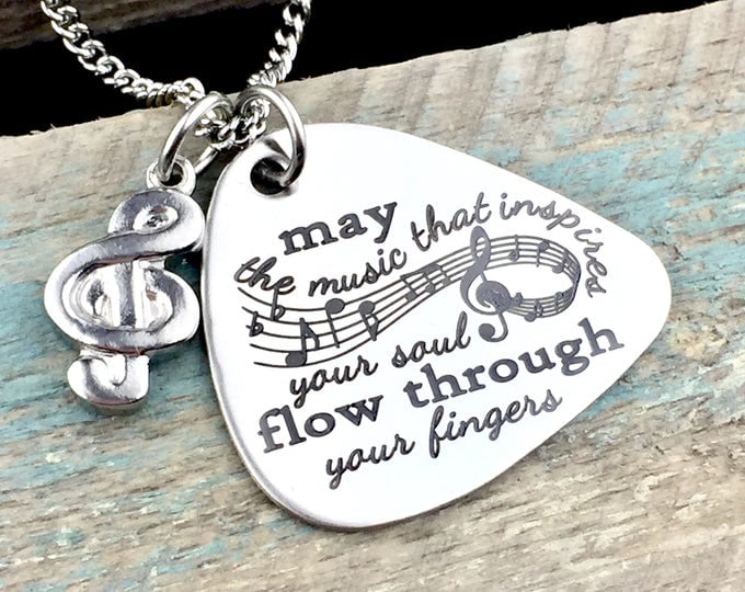 Engraved Music of the Soul Guitar Pick Necklace