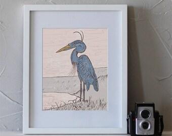 Heron Guide Art Print, Heron Decor, Heron Gifts