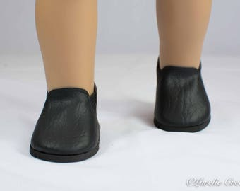 """Doll Ankle BOOTS in Short Length BLACK Faux LEATHER for American Girl or 18 """" Doll"""