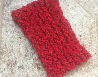 Knit Ear Warmer, Red Ear Warmer Headband, Chunky Ear Warmer, Womens Ear Warmer