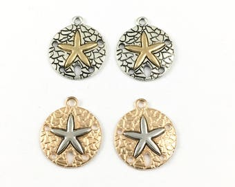 4 dollar sand charm silver and gold tone 20mm x 23mm #CH 294