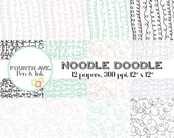 Doodle Digital Paper, Doodle Lines Digital Paper, Hand Drawn, Doodle Paper Pack, Doodle Backgrounds, Doodle Wallpaper