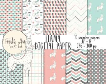 Llama Digital Paper, Nursery Digital Paper, Llama Scrapbook, Alpaca Digital Paper, Pink and Blue, Digital Wallpaper, Digital Background