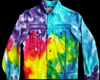 Rainbow Tie Dye Jean Jacket X Large Denver Hayes