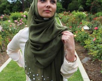 Olive Green Lulu Pearl Hijab