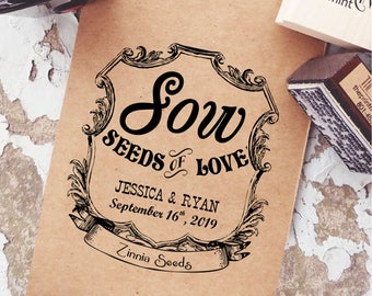 Seed Wedding Favor Rubber Stamp Vintage, Let Love Grow Stamp, Vintage Wedding Stamps, Blank Seed Packets, Antique Wedding Ideas  CS-10278