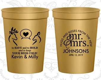 Gold Stadium Cups, Gold Cups, Gold Party Cups, Gold Wedding Cups (250)