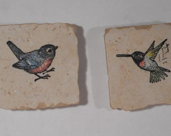 """Decorative Bird Magnets on 2"""" by 2"""" Tumbled MarbleTiles"""