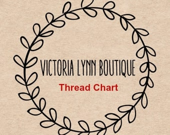 THREAD COLOR CHART for Embroidery -  Thread Color Reference Sheet, Choose Embroidery Color, Choose Text Color, Choose Monogram Color