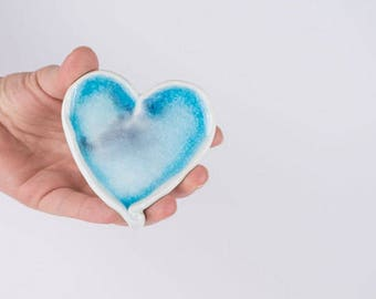 Ceramic Heart Ornament Pottery Heart Gift For Her Heart Wall Hanging Blue Heart Wedding Favor Shower Favor Ceramic Decor Home Décor