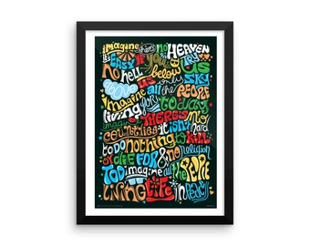 FRAMED Imagine (John Lennon) Psychedelic Typography Print, Song Lyrics Art Print, Rock Song Illustration, Music Art Poster, Hand Lettered