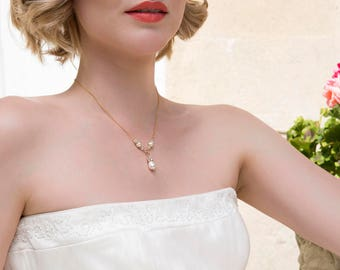 Pearl drop necklace, gold wedding necklace, Swarovski bridal jewelry, dainty bridal necklace - Vita
