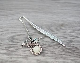 Magic theme Gift,Dragon bookmark, feather bookmark,GLOW in the DARK , Glow Bookmark
