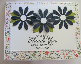 Thank You Card, Thank You Flower Card, Purple Flower Card, Thank You Ever So Much Card, Hospitality Card, Thank You, Floral Card, Blue
