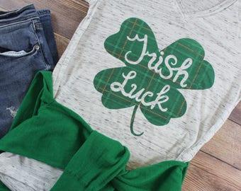 Women's St. Patricks Day Shirt/ St Patricks Days Shirt Women/ Lucky Shirt/ Irish Shirt/ Plaid Shirt/ Kiss me I'm Irish/ Pinch Me Shirt
