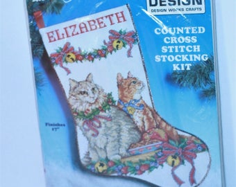 "Design Works Stocking Kit 5406 Cats Counted Cross stitch kit 17"" Sealed"